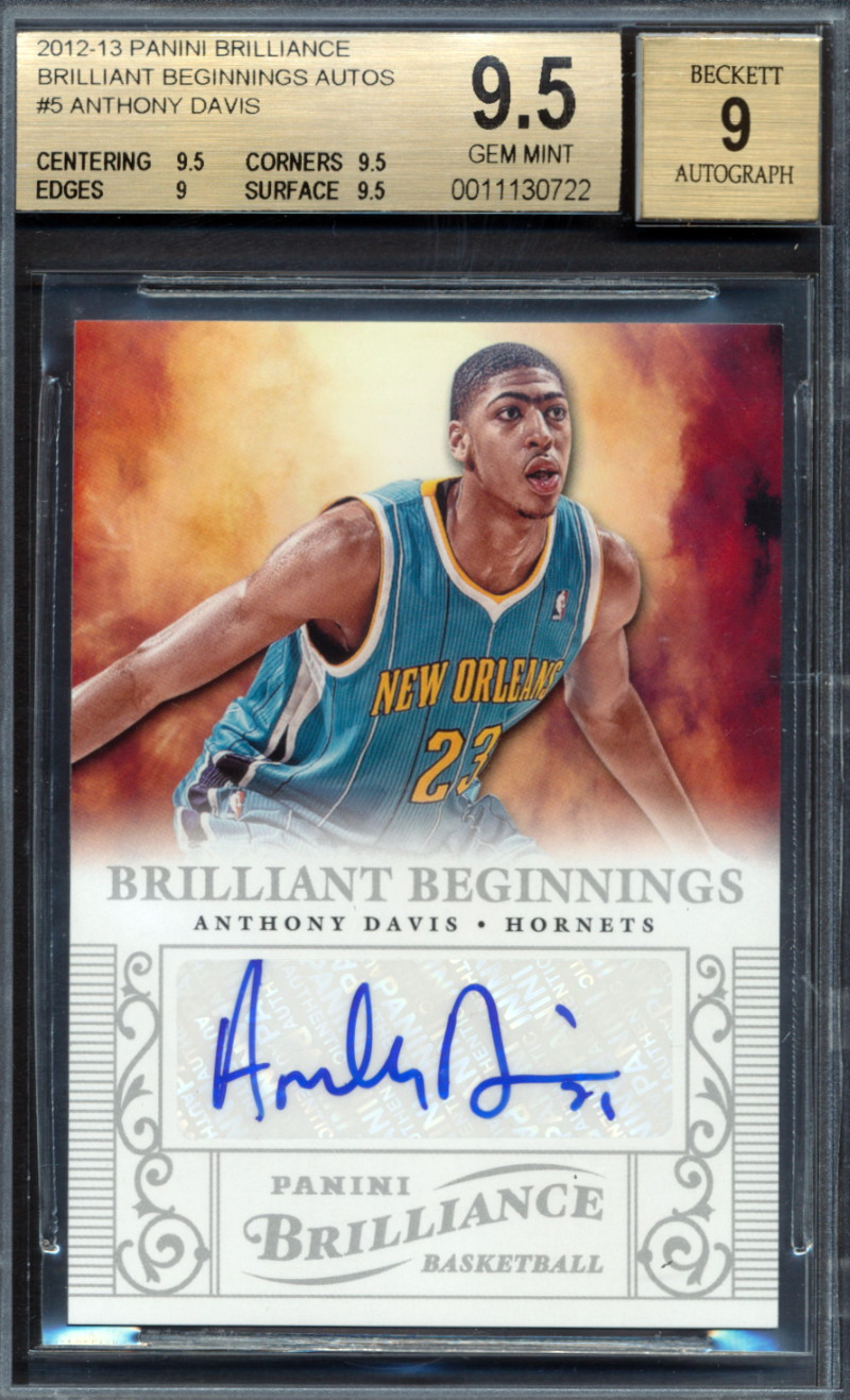 Details About 2012 13 Panini Brilliant Autograph Anthony Davis Rookie Card Graded Bgs 9 5 722