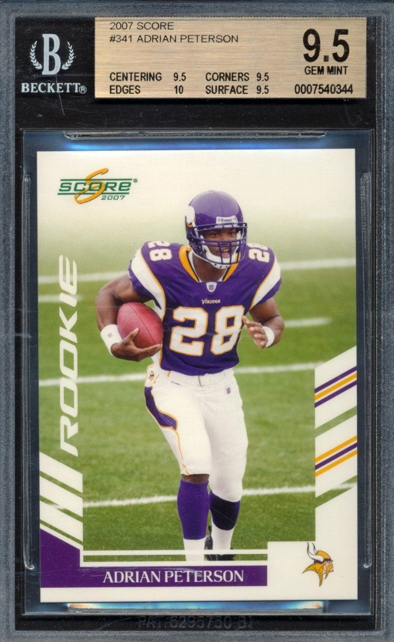 Details About 2007 Score 341 Adrian Peterson Rookie Card Graded Bgs 95 95 10 95