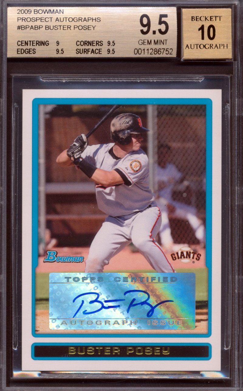 2009 BOWMAN ROOKIE CARD AUTOGRAPH OF BUSTER POSEY NICE CENTERING /& CORNERS