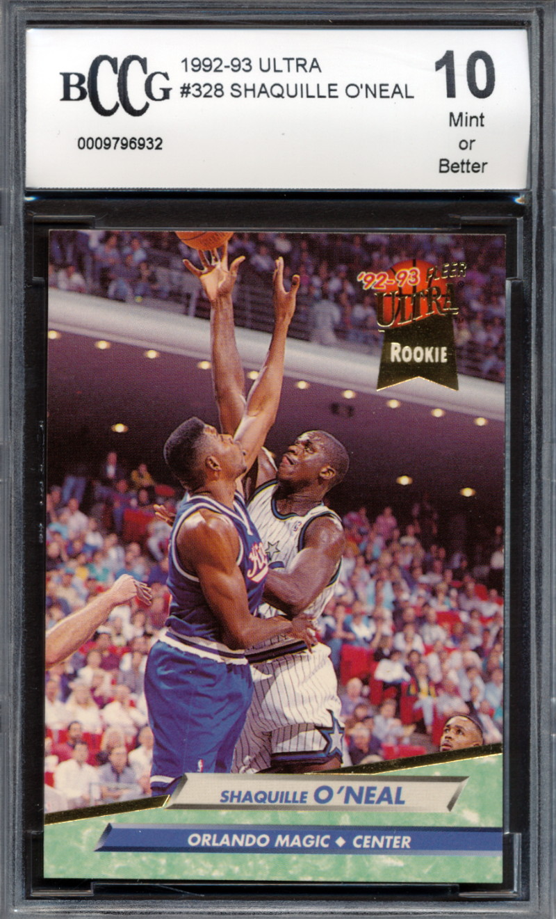 Details About 1992 93 Ultra 328 Shaquille Oneal Rookie Card Graded Bccg 10