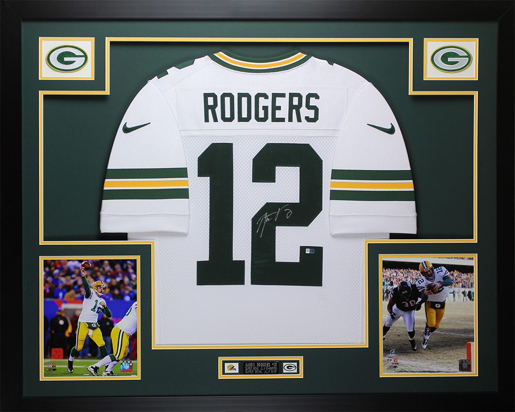 72d39a626 Aaron Rodgers Autographed   Framed White Packers Nike Jersey Auto Fanatics  COA D8