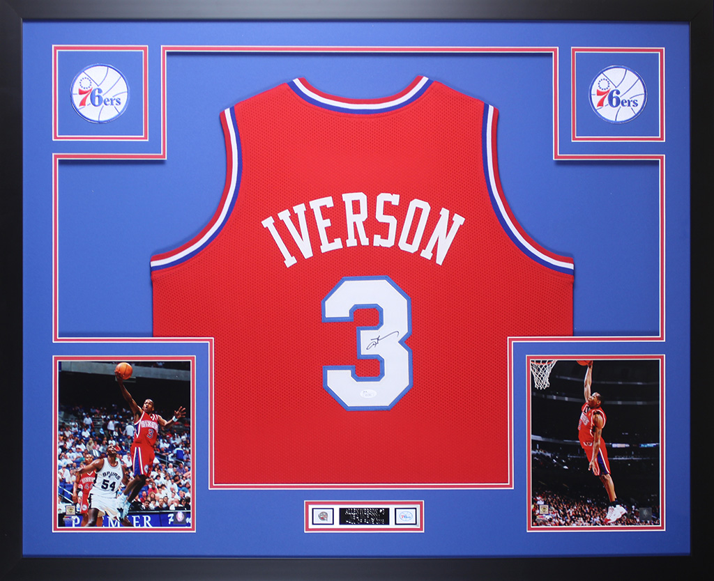 2d9942f2f8b Allen Iverson Autographed and Framed Red 76ers Jersey Auto JSA COA D1-L