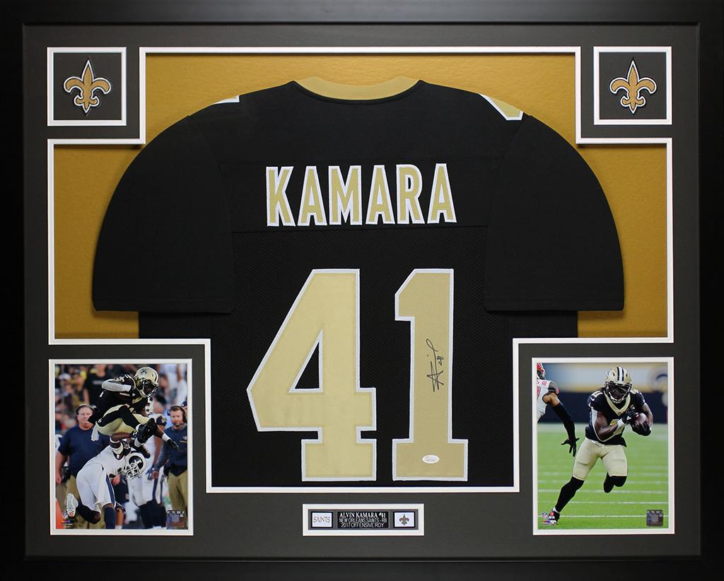 new style 91562 388e3 Detalles acerca de Alvin Kamara Autografiada Y Enmarcada Negro New Orleans  Saints Jersey JSA cert. de autenticidad- mostrar título original
