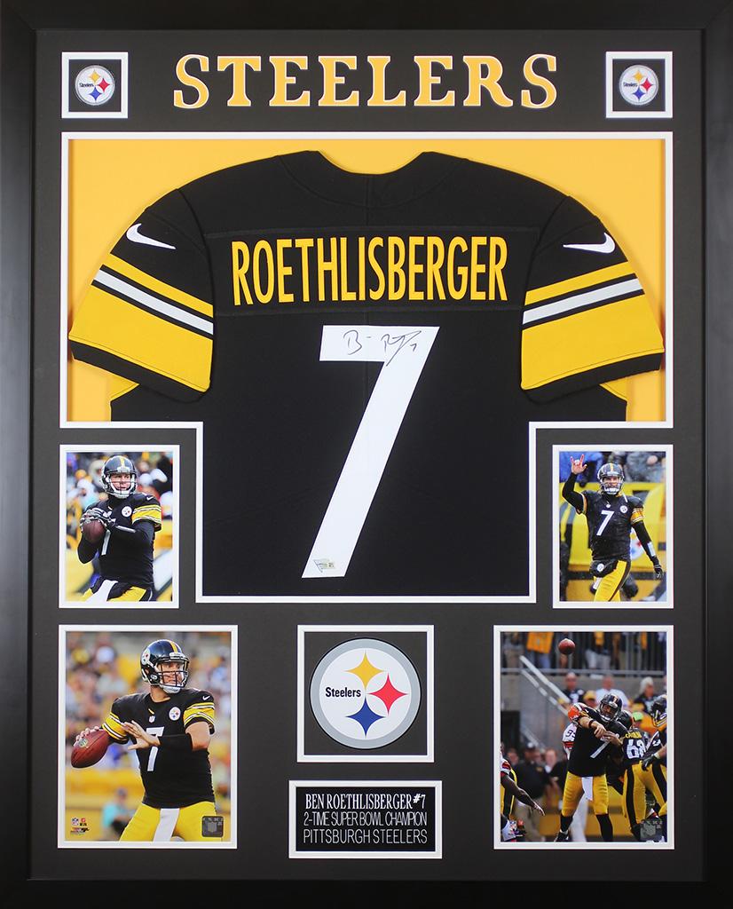 a8d00686a3e Ben Roethlisberger Autographed   Framed Black Steelers Jersey Fanatics COA