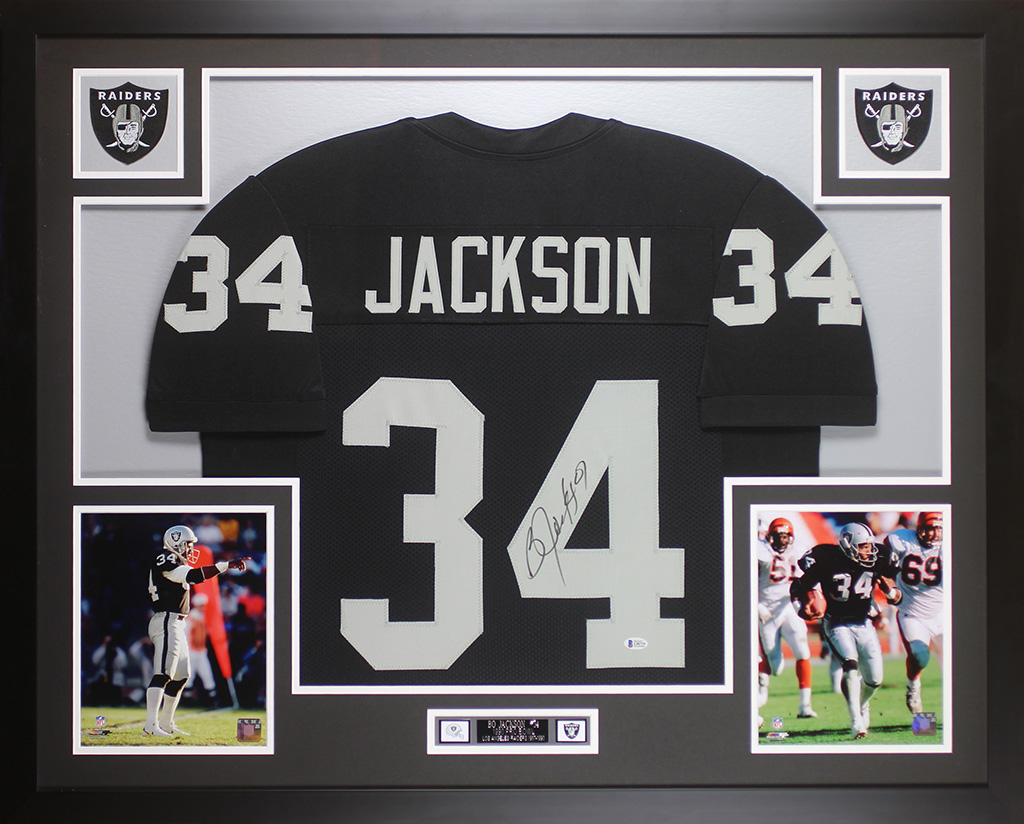 buy online 3fa11 702f4 Details about Bo Jackson Autographed & Framed Black Raiders Jersey Auto  Beckett COA