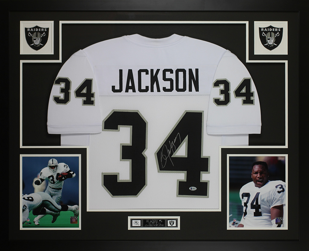 the latest 27374 7260a Details about Bo Jackson Autographed & Framed White Raiders Jersey Auto  Beckett COA D17