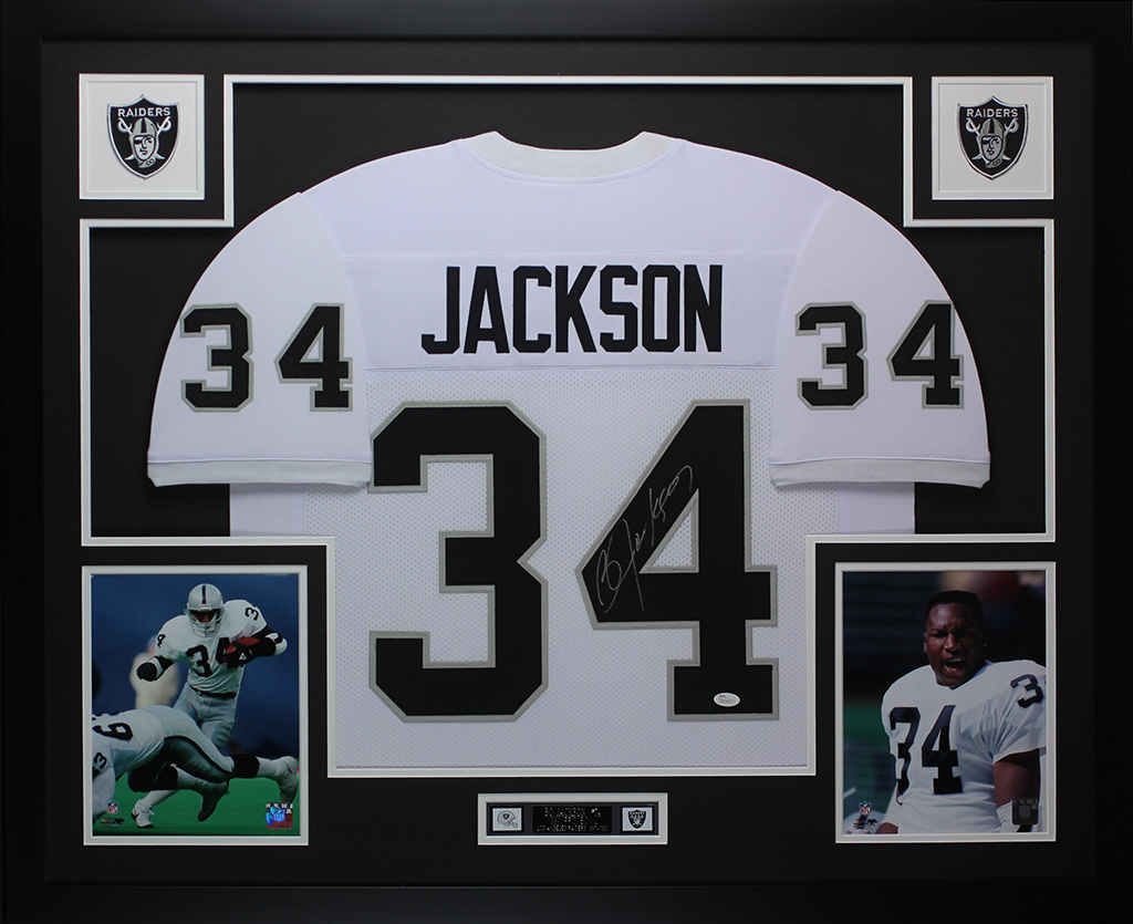 official photos 9e27b 83981 Details about Bo Jackson Autographed and Framed White Raiders Jersey JSA  COA (D15-L)