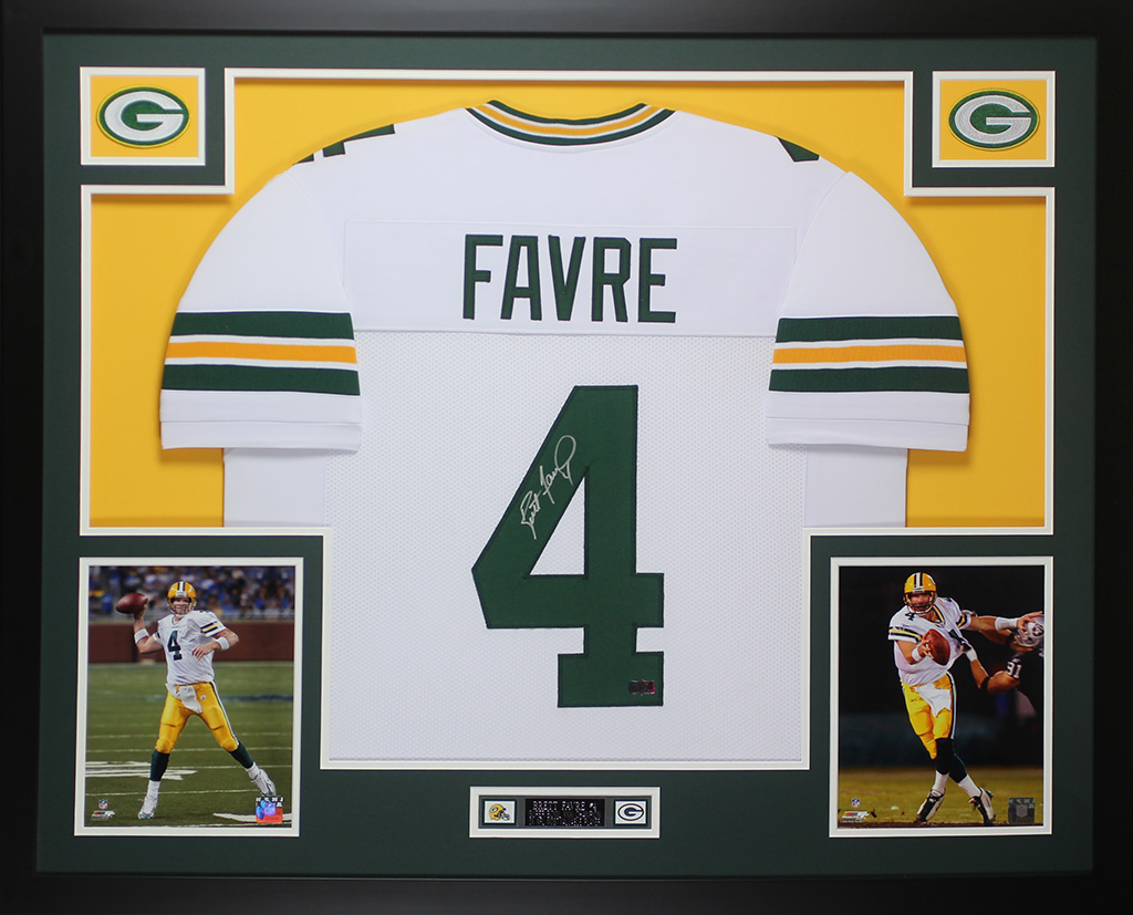 Brett Favre Autographed and Framed White Packers Jersey Auto Favre ...