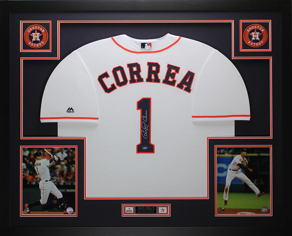 Carlos Correa Autografiada Y Enmarcada Blanco Astros Jersey Auto ...