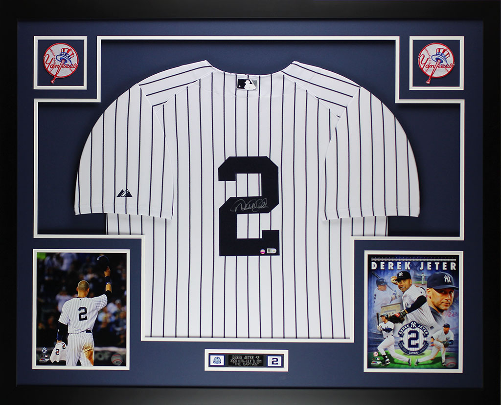 Derek Jeter Autographed and Framed White Yankees Jersey Auto Steiner ...