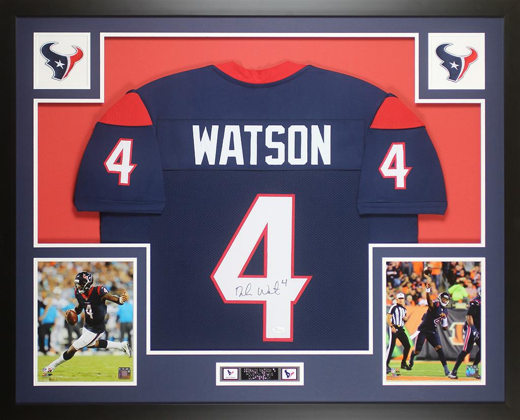 Deshaun Watson Autographed & Framed Houston Texans Blue Jersey ...