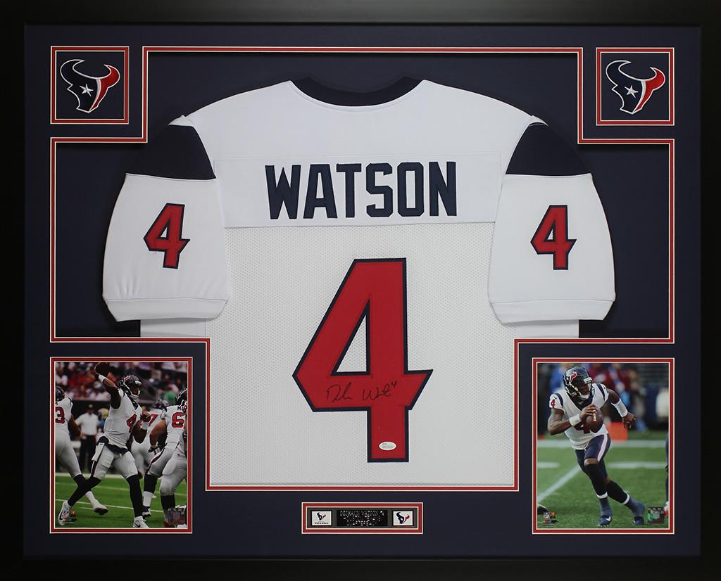 sale retailer 9d7cb 316c6 Details about Deshaun Watson Autographed & Framed Houston Texans White  Jersey Auto JSA COA