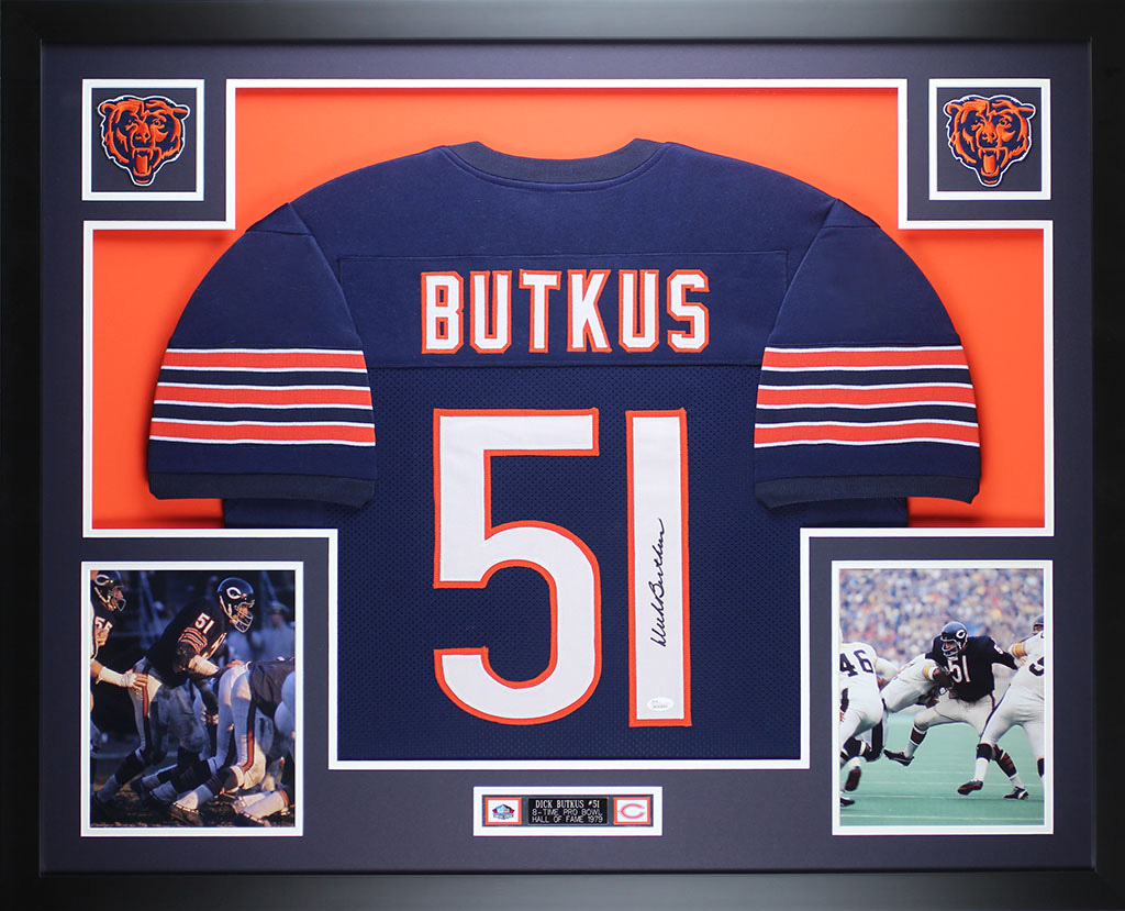 new arrival 79504 f06d0 Details about Dick Butkus Autographed and Framed Blue Chicago Bears Jersey  JSA COA D12