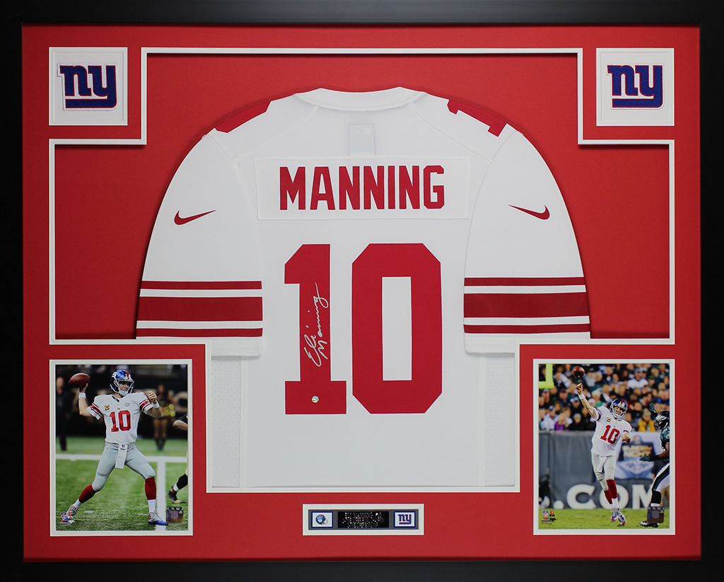 online retailer ca683 580f8 Details about Eli Manning Autographed & Framed White Nike Giants Jersey  Auto Steiner COA D4-L