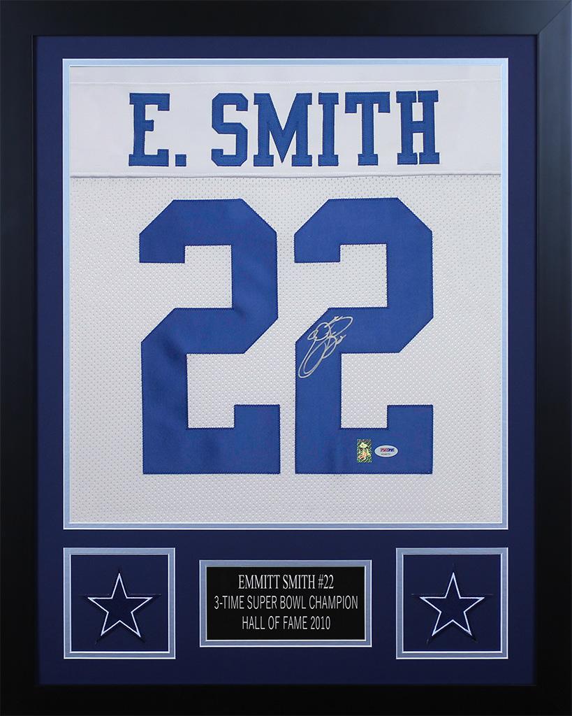 47ac9369e Details about Emmitt Smith Autographed   Framed White Cowboys Jersey Auto  PSA COA D2