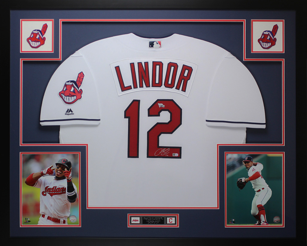 separation shoes 7a86b 9bf8f Details about Francisco Lindor Autographed & Framed White Indians Jersey  Auto Fanatics COA D1-