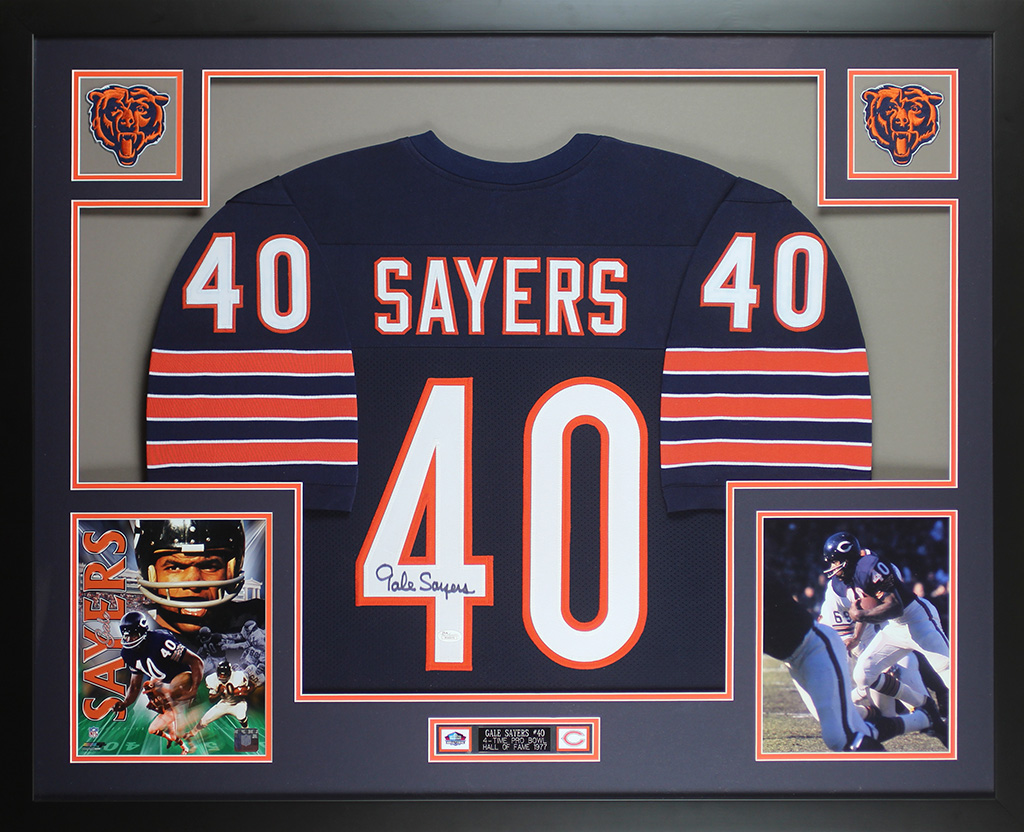 0e26b8d1c23 Gale Sayers Autographed and Framed Blue Chicago Bears Jersey JSA COA D6-L