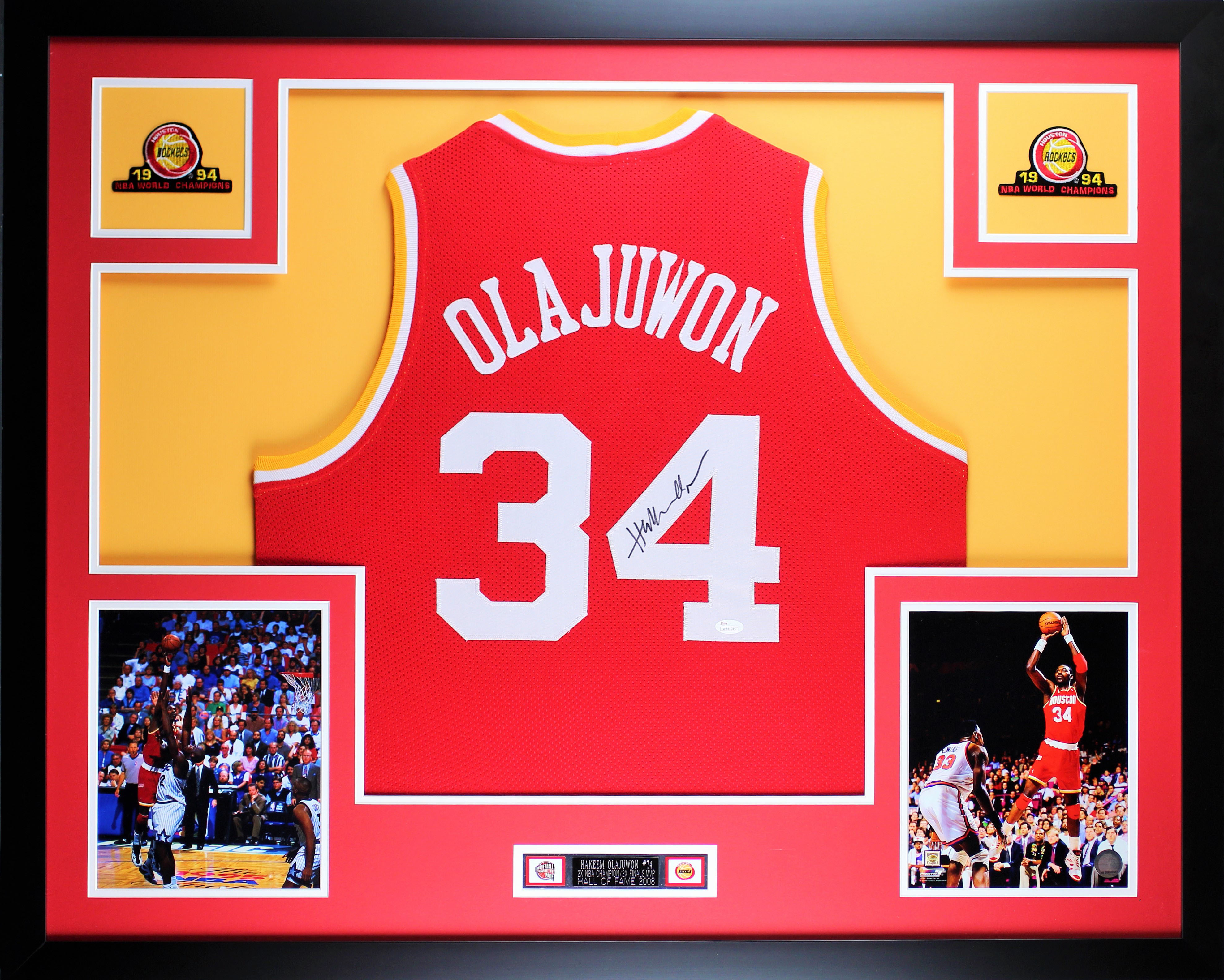 5b87092193ed Details about Hakeem Olajuwon Framed and Autographed Red Jersey Auto JSA  COA (D3-L)