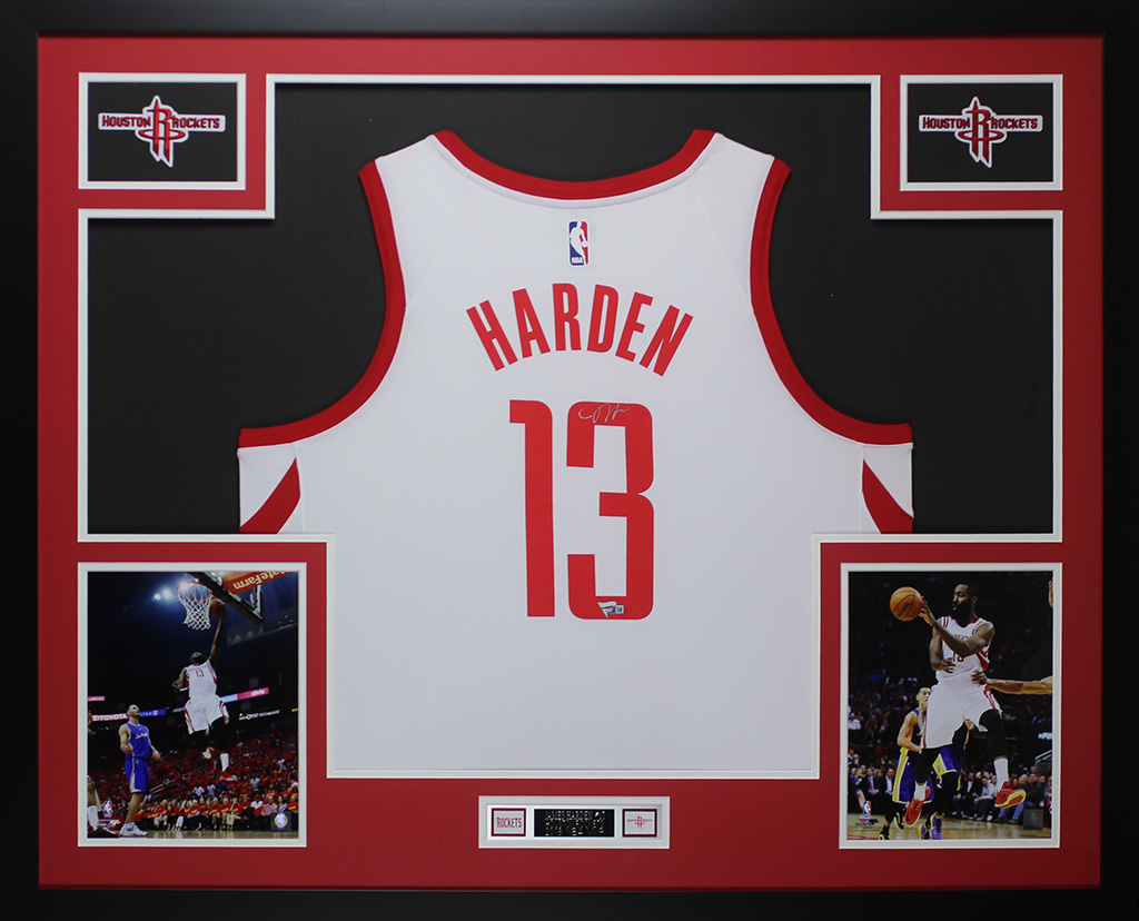 outlet store 109cc 05a39 Details about James Harden Autographed & Framed White Rockets Jersey Auto  Fanatics COA D2-L