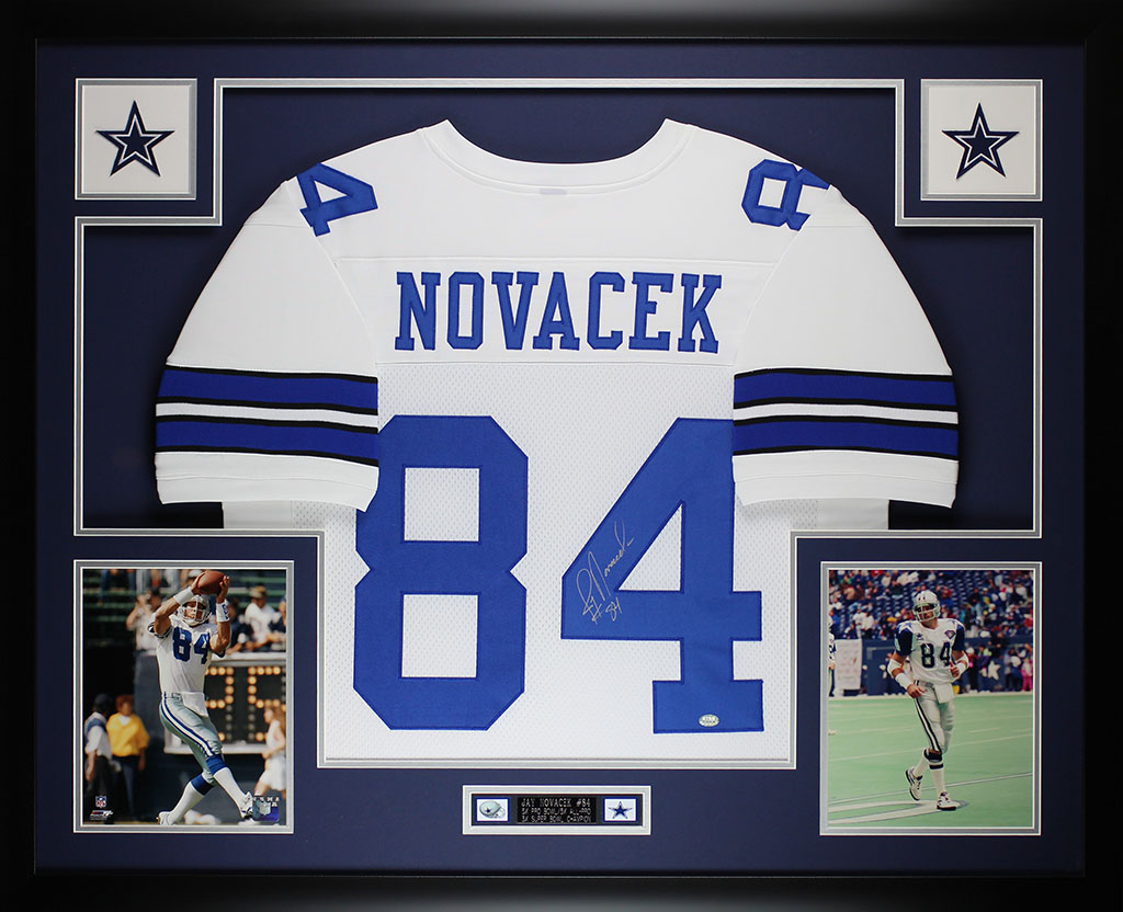 sports shoes e3fec 3a0a7 Details about Jay Novacek Autographed and Framed White Cowboys Jersey Auto  GTSM COA (D1-L)
