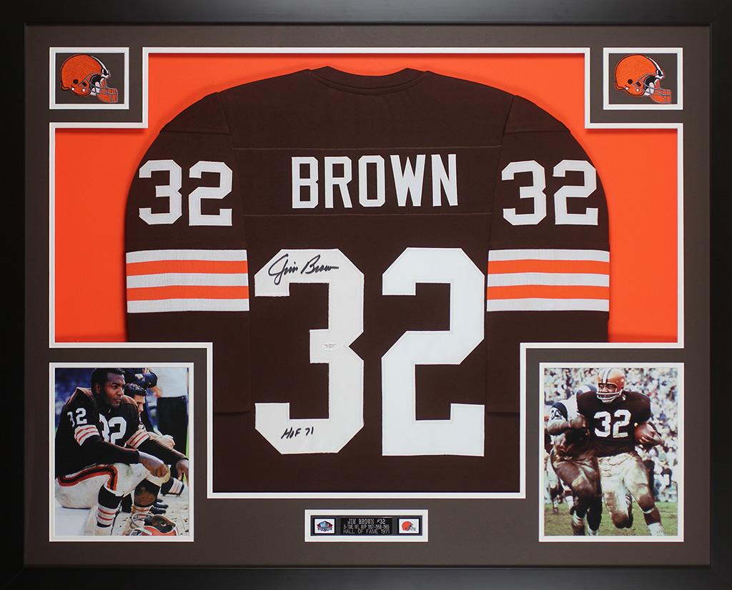 2bcfeef1fa5 Details about Jim Brown Autographed   Framed Cleveland Browns Jersey JSA  COA D6-L