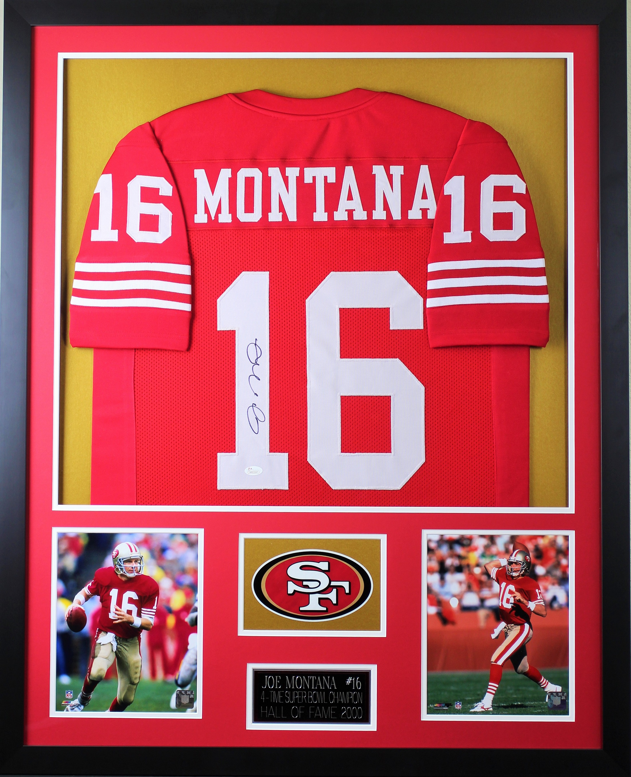 72fbdcff6e1 Details about Joe Montana Autographed and Framed Red 49ers Jersey Auto JSA  COA (D1-V)