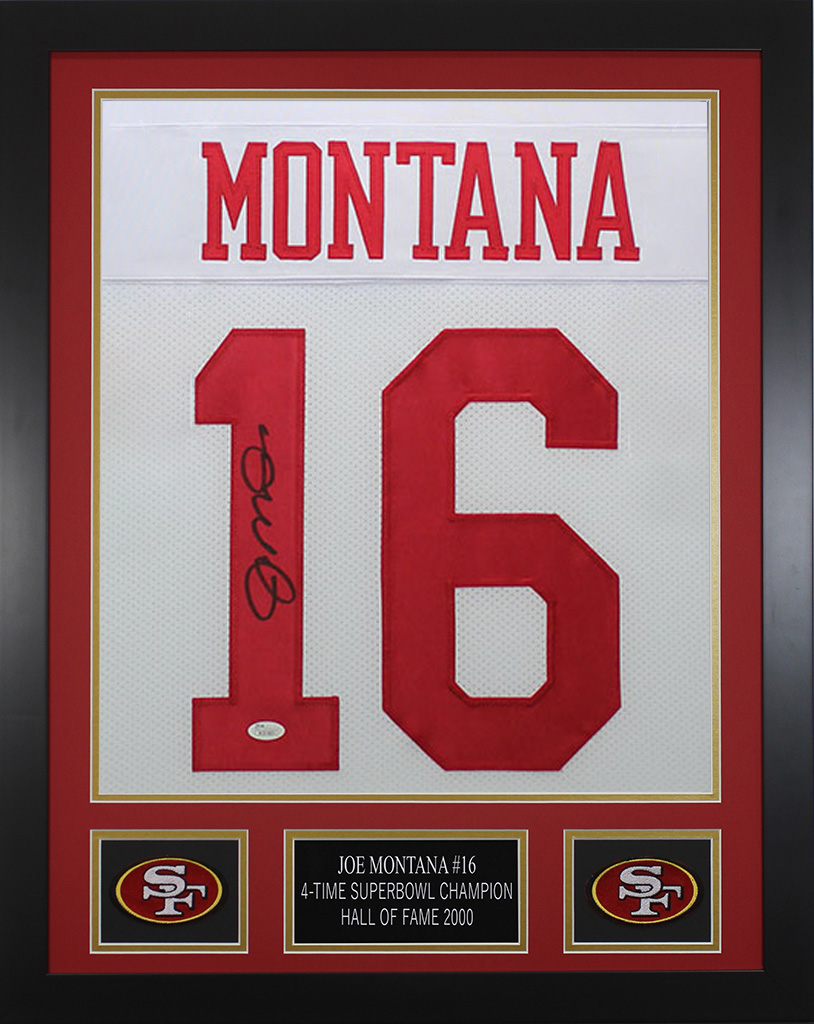 Joe Montana Autographed and Framed White 49ers Jersey JSA COA D6-S ...