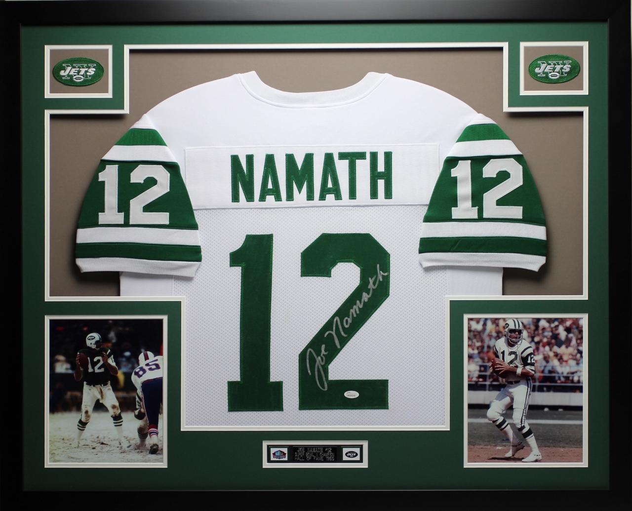 Details about Joe Namath Autographed and Framed White Jets Jersey Auto JSA  COA (D4-L) 32bae0bfa
