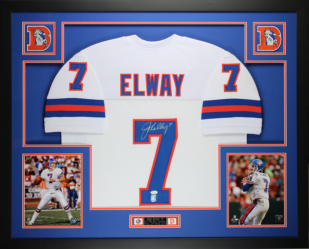 John Elway Autographed and Framed White Broncos Jersey Auto JSA COA ...