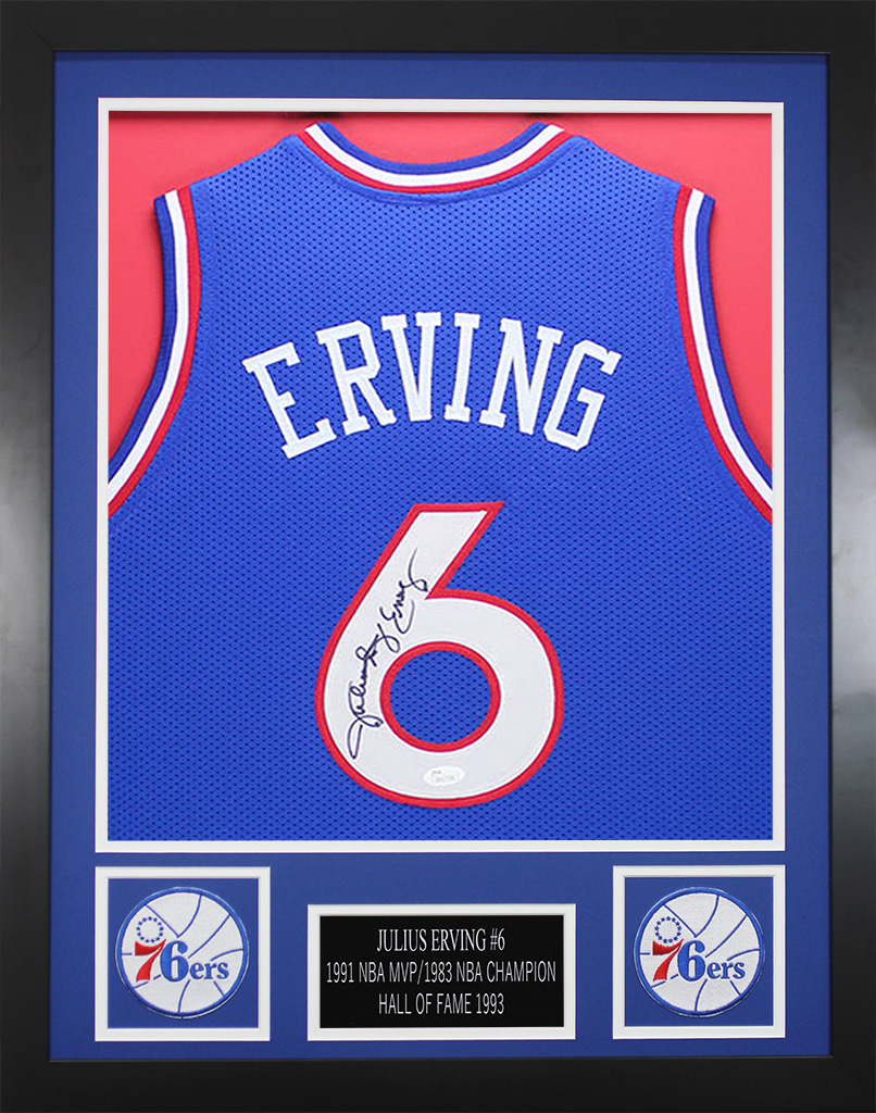 a200a9fee9df Details about Julius Erving Autographed   Framed Blue 76ers Jersey JSA COA  D2-S