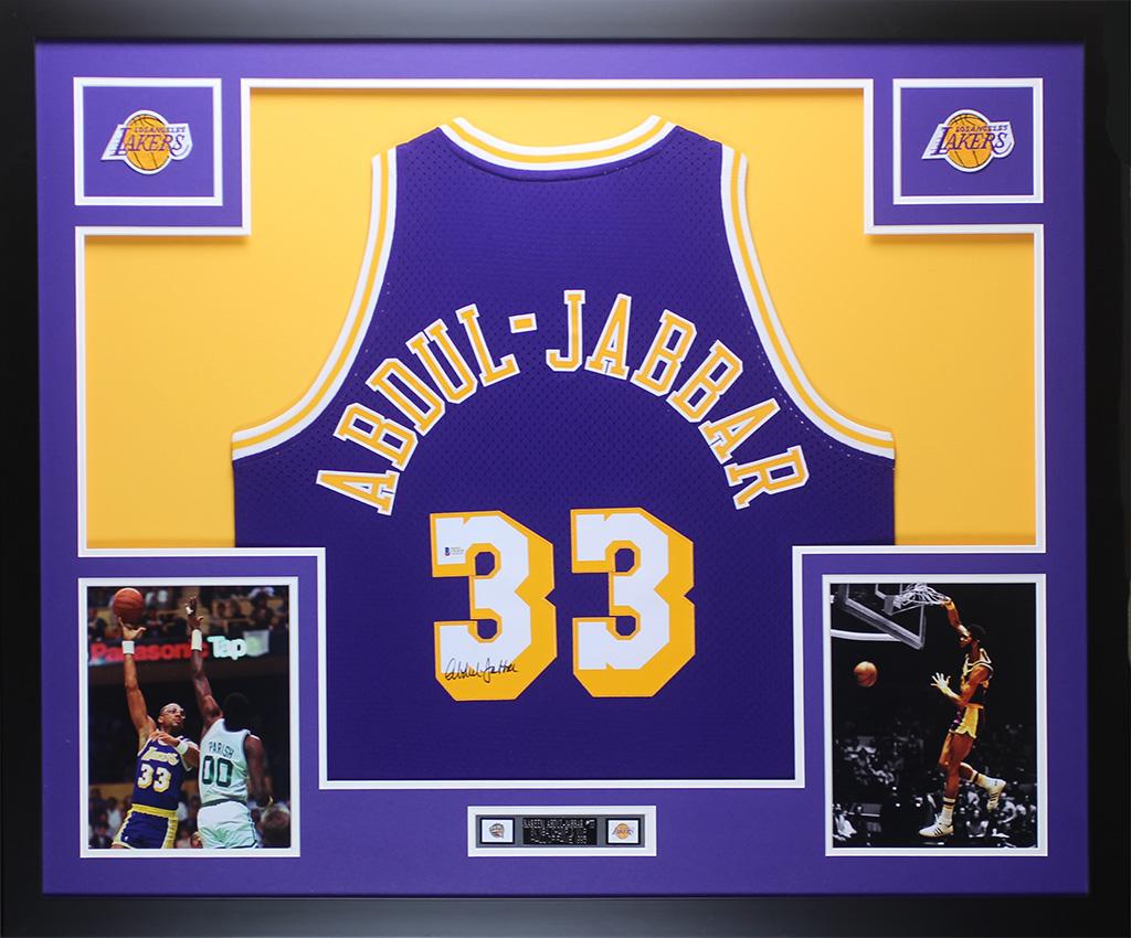 763a7f887cd Details about Kareem Abdul-Jabbar Autographed & Framed Purple Lakers Jersey  Auto Beckett COA