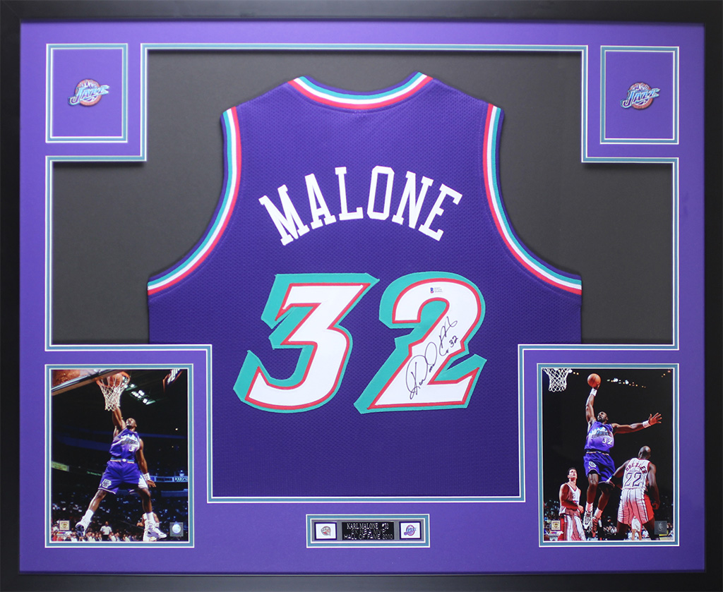 meet df68f ddb54 Details about Karl Malone Autographed & Framed Purple Jazz Jersey Auto  Beckett COA D1-L