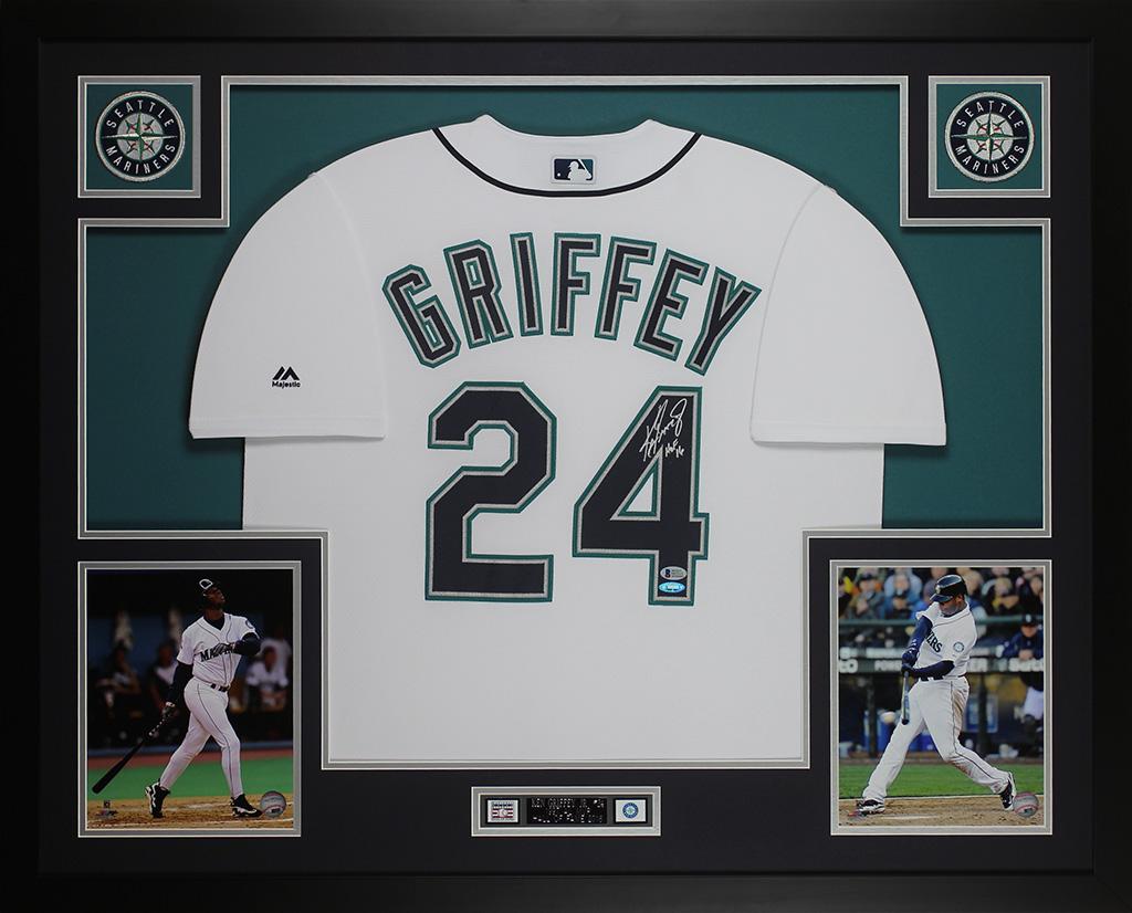 f33b0422faf Details about Ken Griffey Jr Autographed   Framed White Mariners Jersey  Auto Beckett COA D7