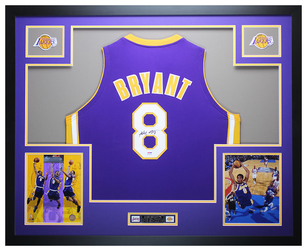 reputable site 1ce71 7f9b5 Details about Kobe Bryant Autographed and Framed Purple Lakers #8 Jersey  Auto PSA COA D11-L