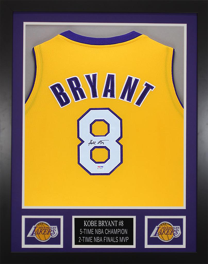 32815232639 Detalhes sobre Kobe Bryant Autographed   Framed Gold Lakers Jersey PSA COA  D1-S