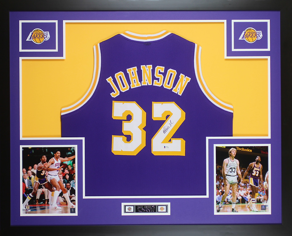 detailed look f0a92 4f6b1 Details about Magic Johnson Autographed & Framed Purple Lakers Jersey Auto  Beckett COA