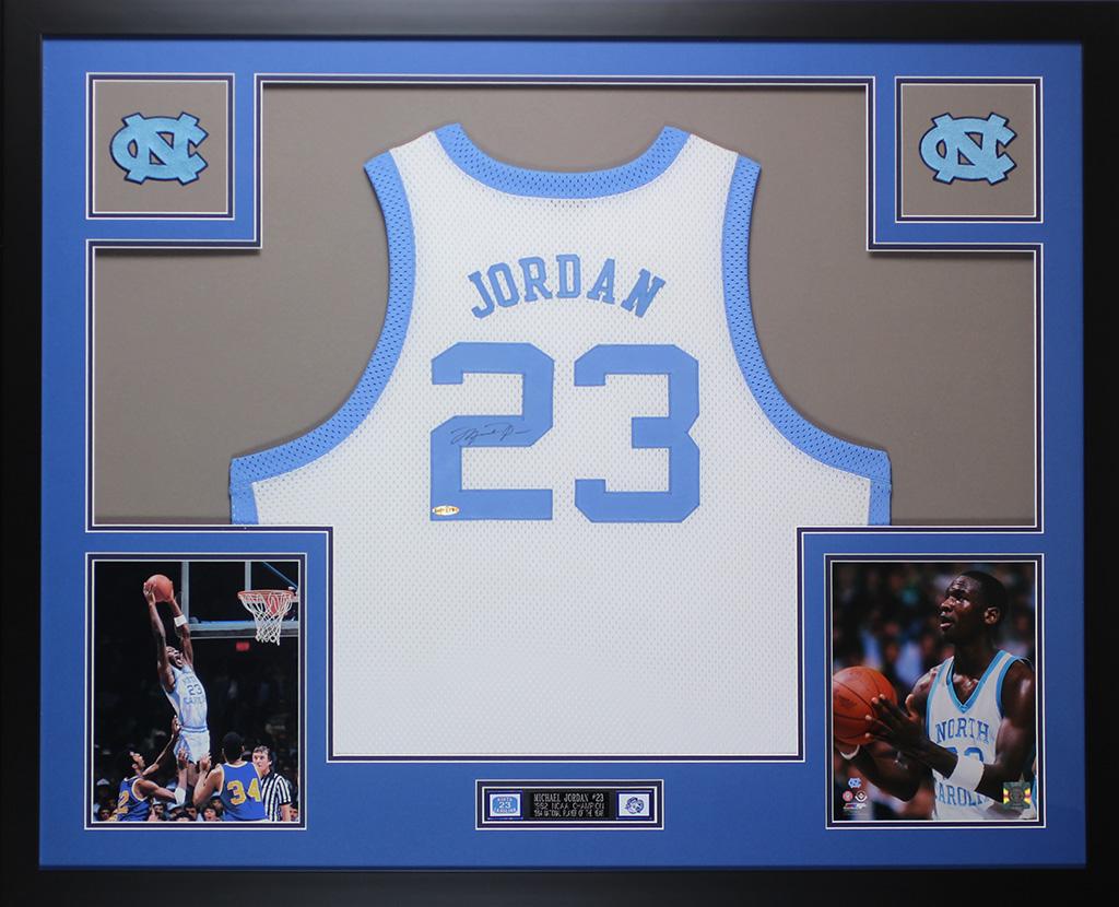 9bdaf6f94958 Details about Michael Jordan Autographed   Framed White UNC Jersey Auto PSA  COA