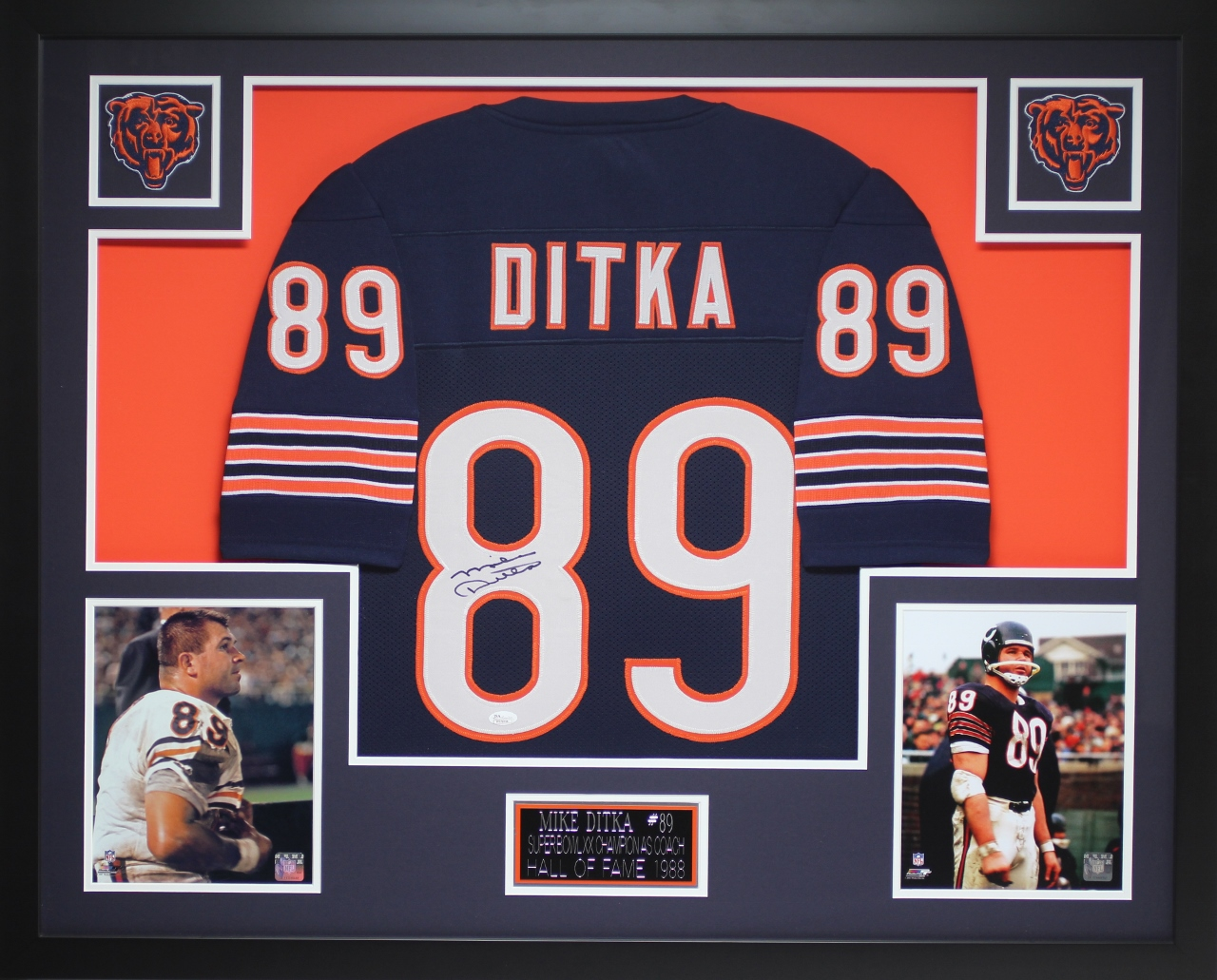 best service b13c9 46d22 Details about Mike Ditka Autographed and Framed Navy Bears Jersey Auto JSA  COA (D2-3)