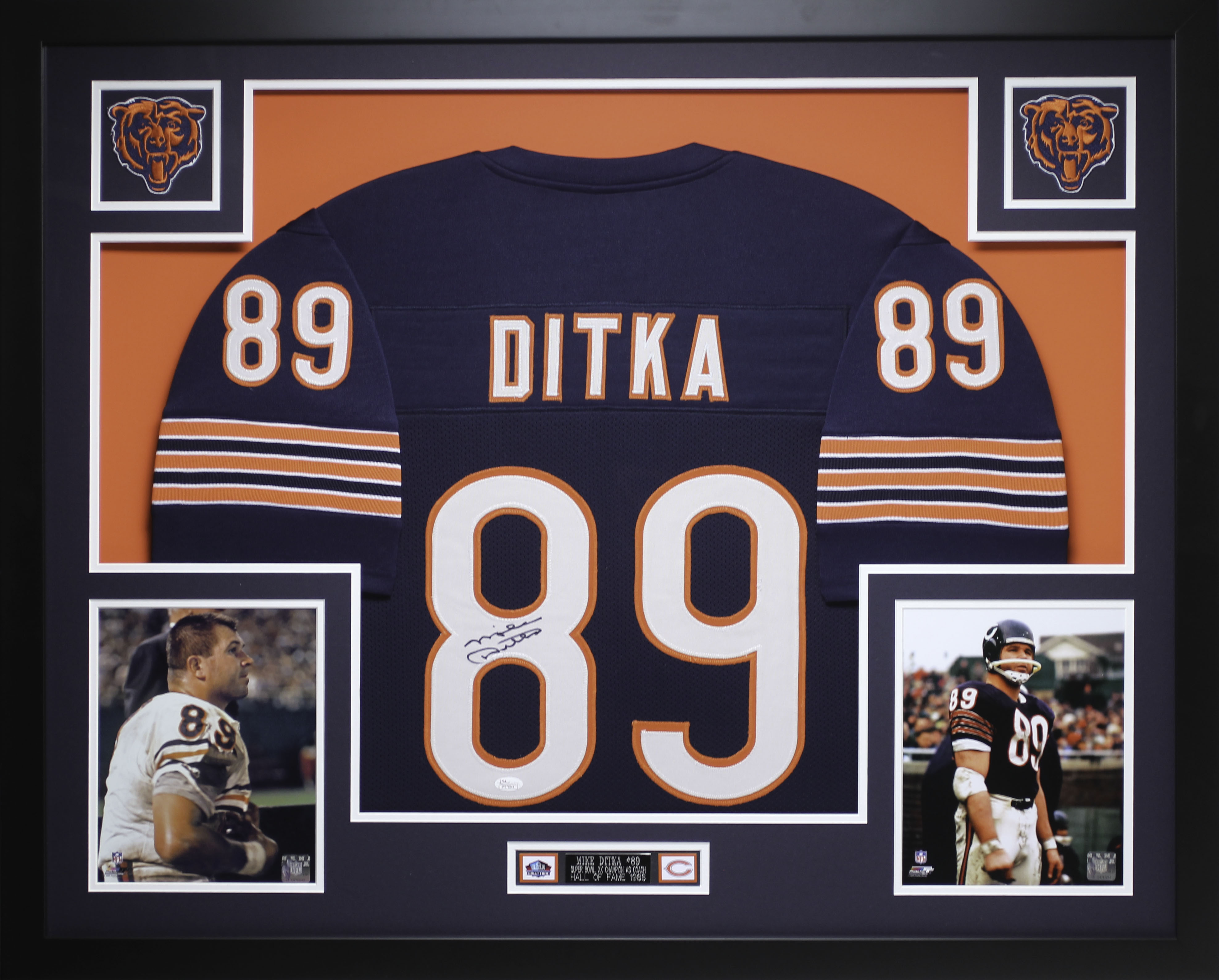more photos 6570d 1b369 Details about Mike Ditka Autographed and Framed Blue Bears Jersey Auto JSA  COA (D2-L)