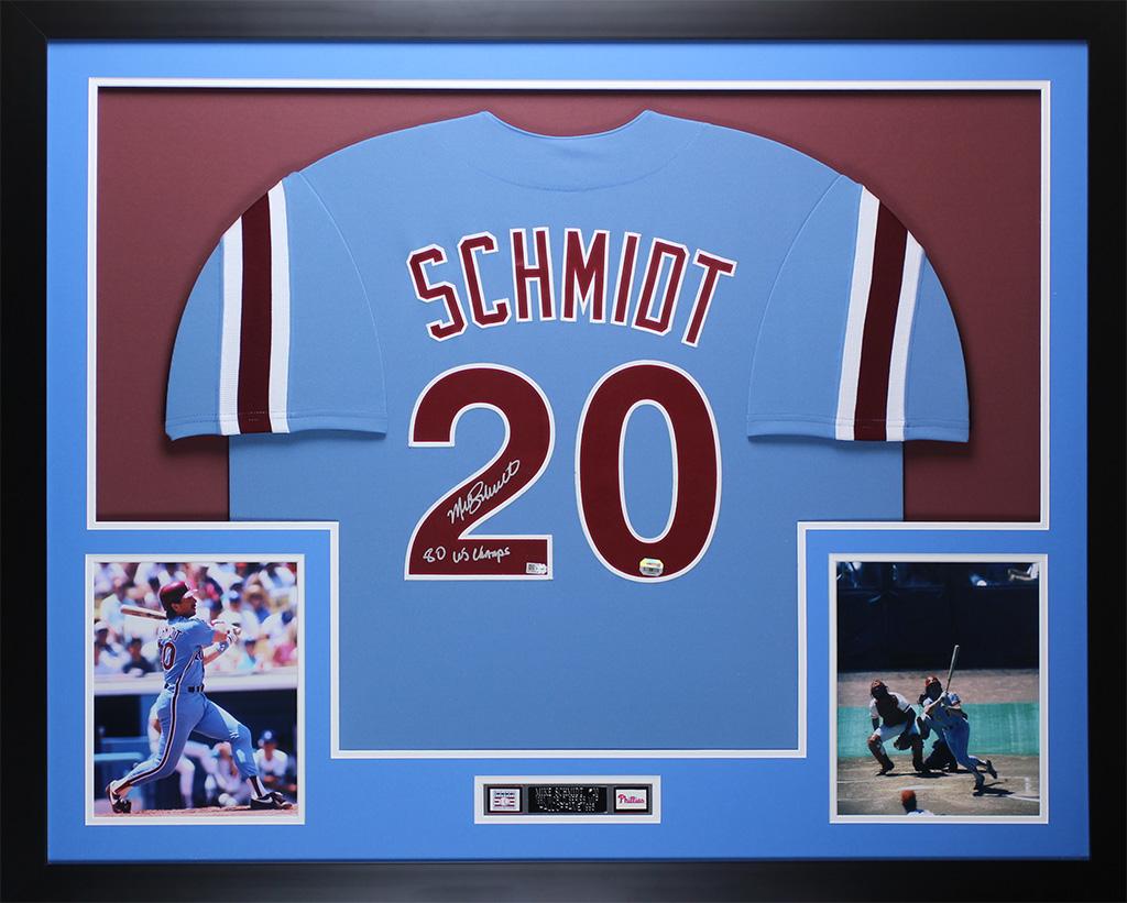 Mike Schmidt Autographed 80 WS CHAMPS   Framed Phillies Jersey Fanatics COA 216d4e671d6