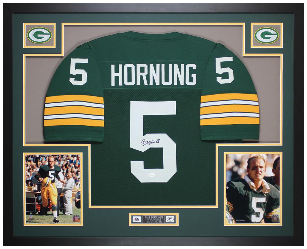Paul Hornung Autographed & Framed Green Packers Jersey Auto JSA ...