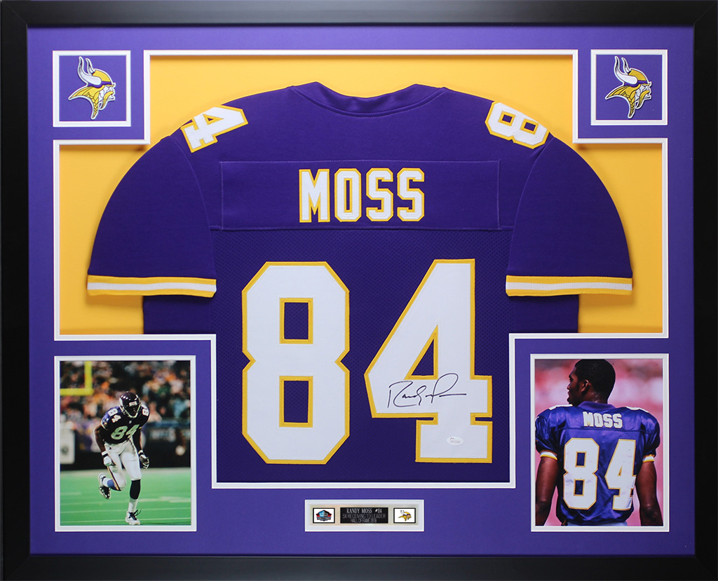 the best attitude fae0f bdb71 Details about Randy Moss Autographed and Framed Purple Vikings Jersey Auto  JSA COA D2-L