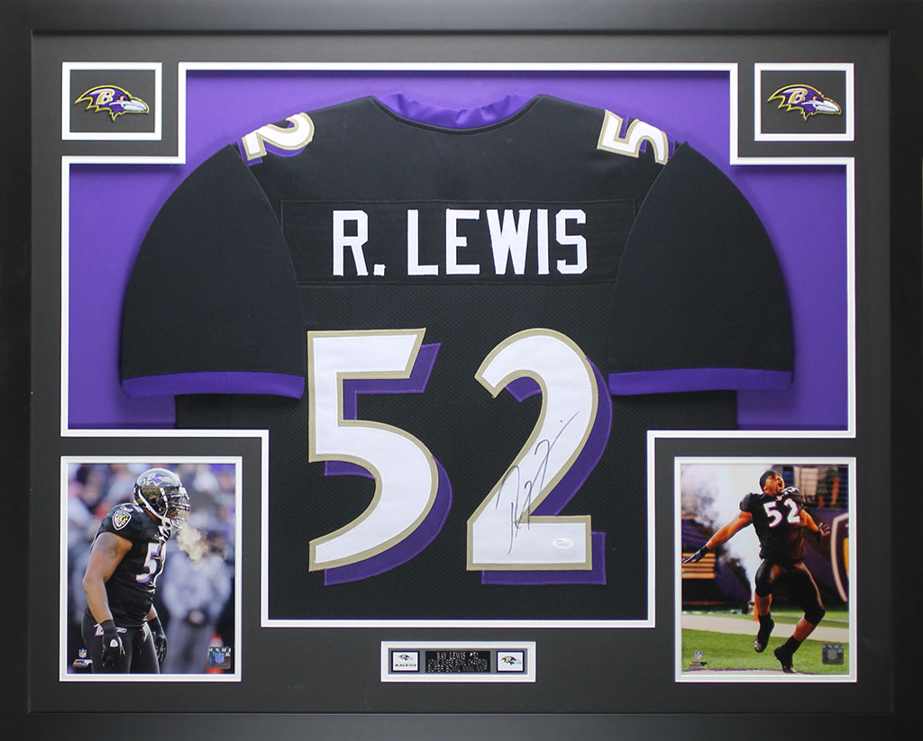 Ray Lewis Autographed and Framed Black Ravens Jersey Auto JSA COA ...