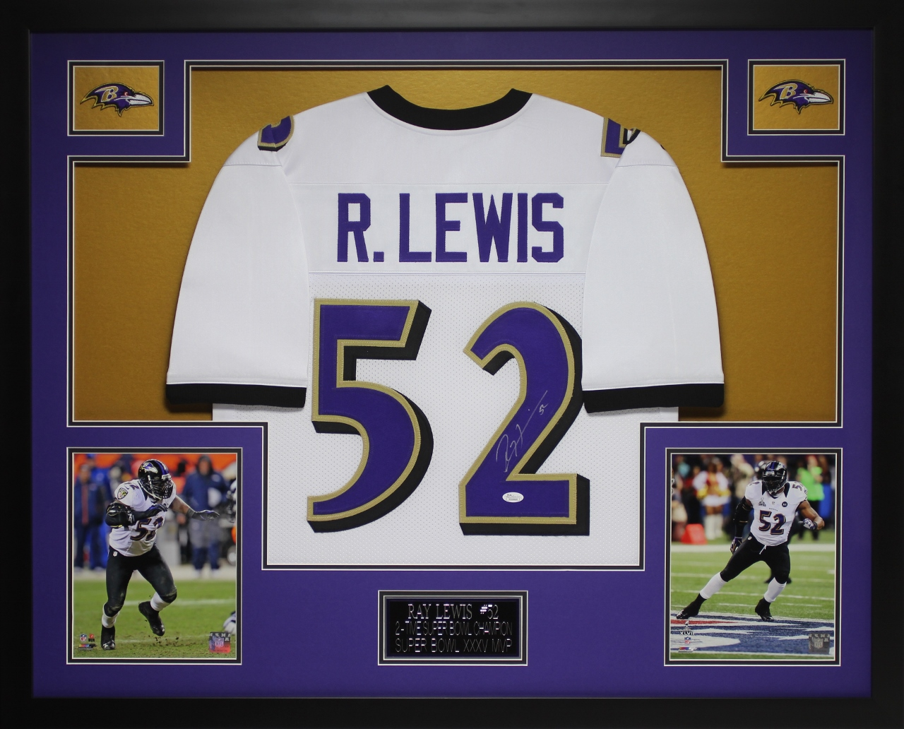 huge sale e066d 82f23 Details about Ray Lewis Autographed and Framed White Ravens Jersey Auto JSA  COA (D2-3)