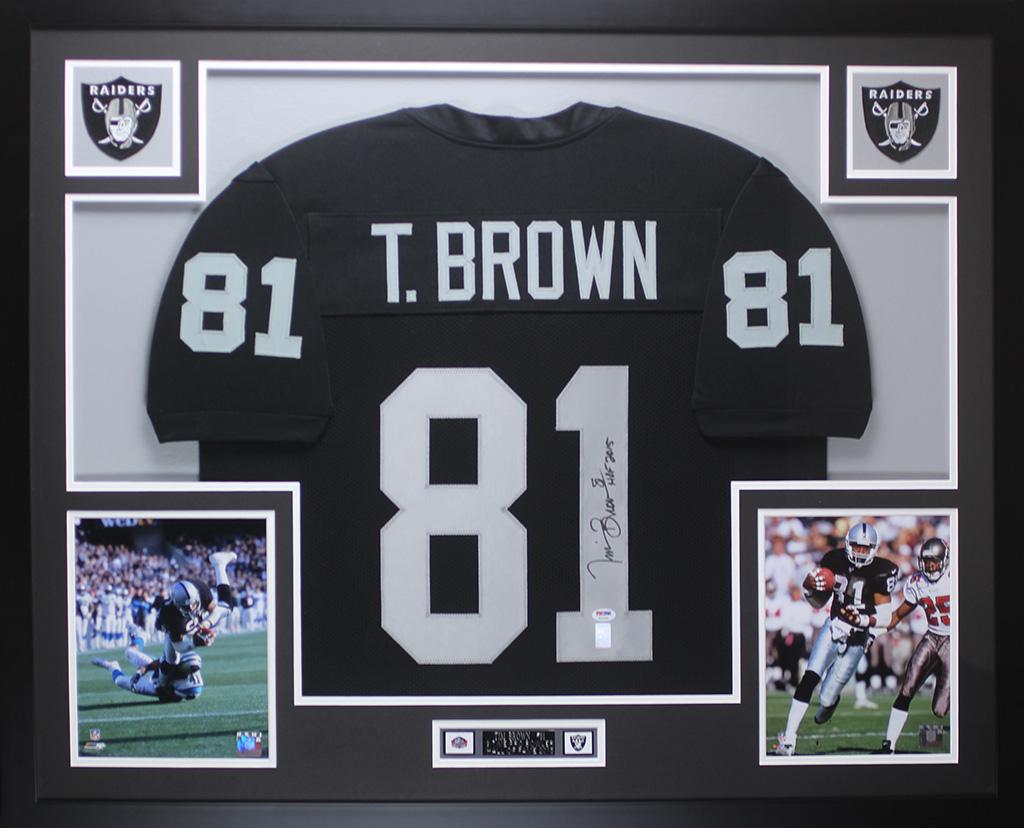 newest d5fcb 5de71 Details about Tim Brown Autographed & Framed Black Raiders Jersey Auto PSA  COA D1-L