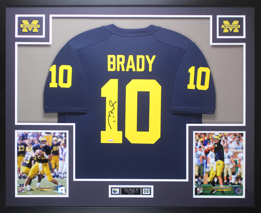 best loved c98f3 416fe Details about Tom Brady Autographed & Framed Navy Michigan Jersey Auto  Tristar COA D17-L
