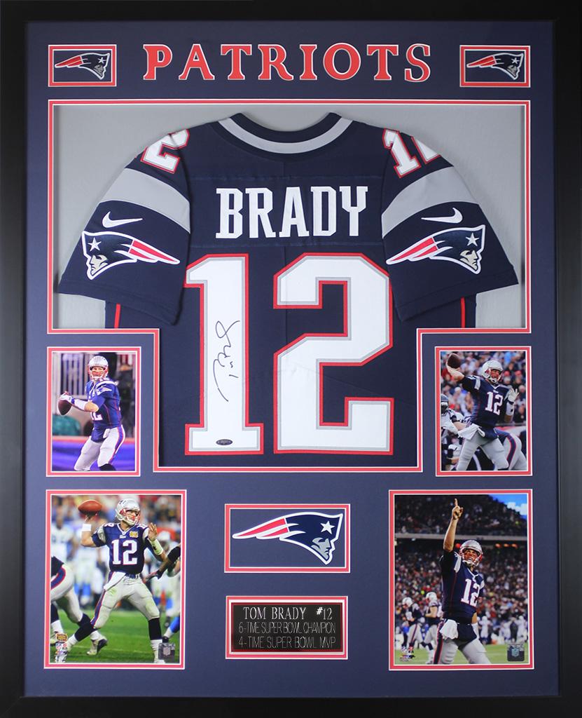check out 34f41 e31b9 Details about Tom Brady Autographed & Framed Navy Patriots Jersey Auto  Tristar COA D21-L