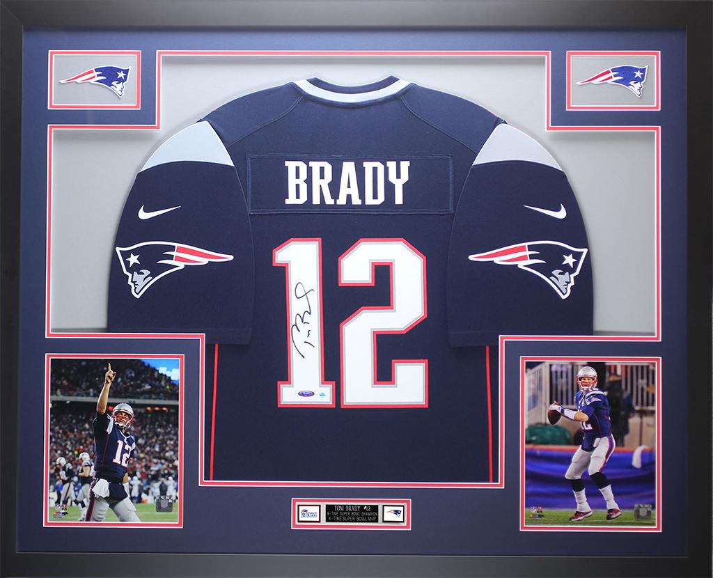 Detalhes sobre Tom Brady Autografado E Moldura Azul Nike Patriots Jersey Tristar certificado de autenticação D11-L- mostrar título no original
