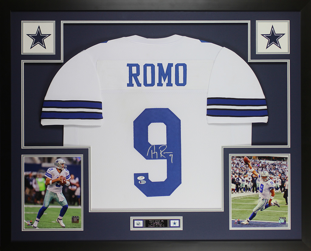 Details about Tony Romo Autographed   Framed White Cowboys Jersey Beckett  COA D4-L 39811c55c