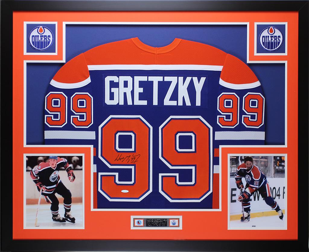 Wayne Gretzky Autografiado & Enmarcado Azul Oilers Jersey Auto ...